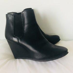 Shoes - Black Chelsea Wedge Heel Booties